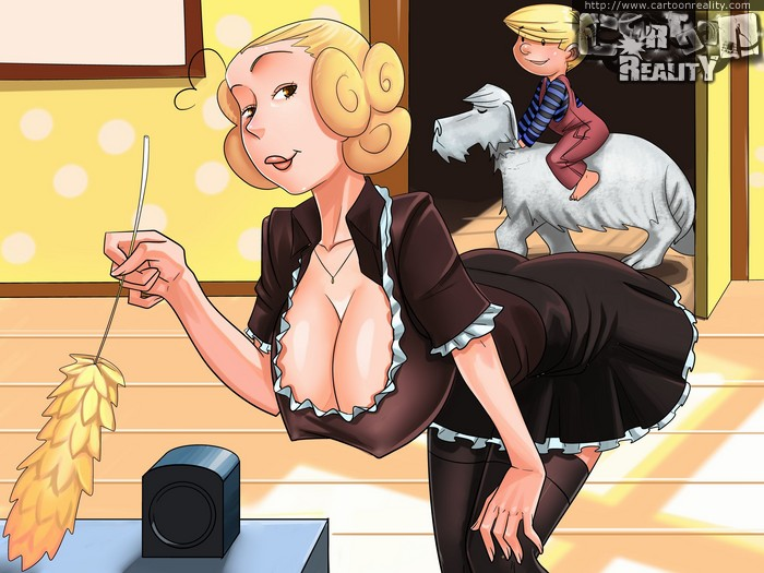 Blonde drawn housewife in maid uniform flashing her - Picture 1