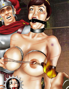 Bondage toons. Weapon and cage - cold steel of male domination.