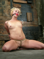 Bondage. Fit girl tied down and machine - Unique Bondage - Pic 1