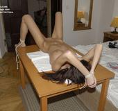 Nylon porno. Bridget 18yo naked and tied spread.