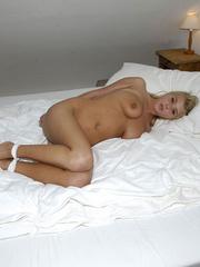 Nylon feet. Jenni tied bent over. - Unique Bondage - Pic 1