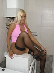 Stockings xxx. Blonde Tiff tied and - Unique Bondage - Pic 2