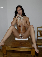 Sexy legs. Sheridan gets tied naked fully - Unique Bondage - Pic 1