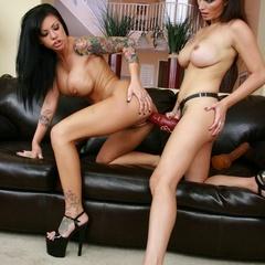 Lesbian pussy. Horny lesbians fucking with - Unique Bondage - Pic 19