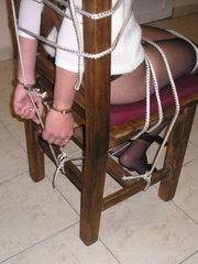 Bondage. Beauty gets bound to her chair. - Unique Bondage - Pic 4