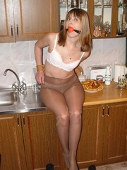 Bdsm xxx. Gagged at home in the kitchen. - Unique Bondage - Pic 8