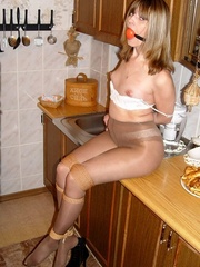 Bdsm xxx. Gagged at home in the kitchen. - Unique Bondage - Pic 12