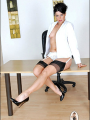 Girls in stockings. Mature leggy office - Unique Bondage - Pic 1