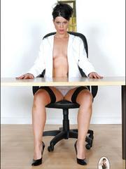 Girls in stockings. Mature leggy office - Unique Bondage - Pic 3