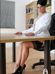 Girls in stockings. Mature leggy office - Unique Bondage - Pic 6
