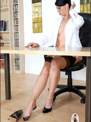Girls in stockings. Mature leggy office - Unique Bondage - Pic 8
