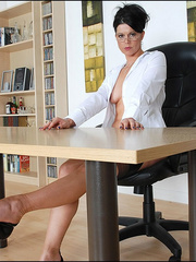 Girls in stockings. Mature leggy office - Unique Bondage - Pic 9