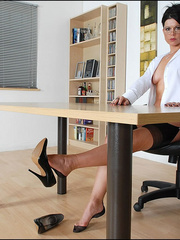 Girls in stockings. Mature leggy office - Unique Bondage - Pic 10