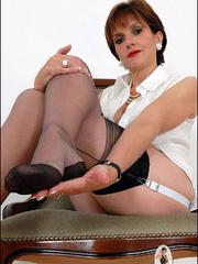 Horny mature. Mature feet in stockings. - Unique Bondage - Pic 13