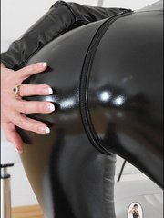 Tug jobs. Milf in skintight catsuit. - Unique Bondage - Pic 12