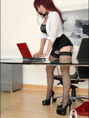 Panty hose porn. Milf company boss. - Unique Bondage - Pic 10