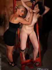 Femdom spanking. Blonde domina stuffing - Unique Bondage - Pic 5