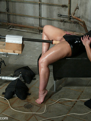 Machine fucking. Jenya enjoys and oily, wet - Unique Bondage - Pic 1