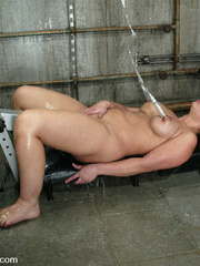 Machine fucking. Jenya enjoys and oily, wet - Unique Bondage - Pic 14