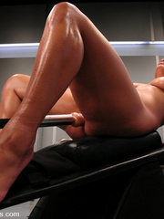 Machine fucking. Hot black babe with huge - Unique Bondage - Pic 10