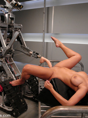 Machine fucking. Hot black babe with huge - Unique Bondage - Pic 13