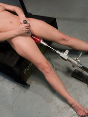 Fucking machine porn. Blonde newcomer - Unique Bondage - Pic 13