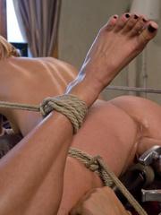 Machines fucking. Hot blonde bound tight to - Unique Bondage - Pic 7