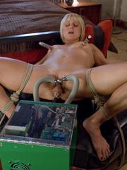 Machines fucking. Hot blonde bound tight to - Unique Bondage - Pic 9