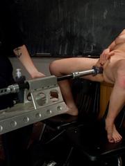 Fuck machines. Blond babe takes big - Unique Bondage - Pic 2