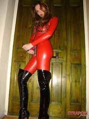 Slave porn. Jane in full red pvc catsuit and - Unique Bondage - Pic 8