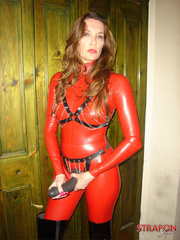 Slave porn. Jane in full red pvc catsuit and - Unique Bondage - Pic 9