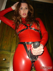 Slave porn. Jane in full red pvc catsuit and - Unique Bondage - Pic 14