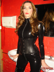 Femdom xxx. Strapon jane in leather catsuit - Unique Bondage - Pic 4