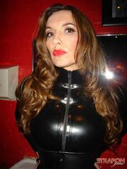 Femdom xxx. Strapon jane in leather catsuit - Unique Bondage - Pic 6