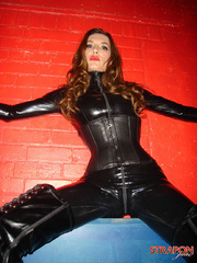 Femdom xxx. Strapon jane in leather catsuit - Unique Bondage - Pic 8