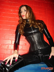 Femdom xxx. Strapon jane in leather catsuit - Unique Bondage - Pic 9