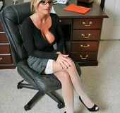 Office lady. Big titted mature office chick Kristal Summers gets her tight