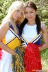 Lesbian girls. Two cute teenie cheerleaders toying…