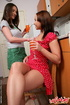 Teen girls. Two fresh fruits are testing each…