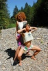 Real voyeur. Two natural naked alternative hippis girls playing on the