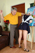 Old young love. Ponytailed coed spanked and fucked by her old teacher