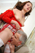 Old men young ladies. Sexy maid clad in red gets…