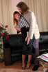 Old young adult. Leggy secretary forced to give head and bend over for