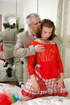 Old young love. Sexy maid clad in red gets screwed by aged master for