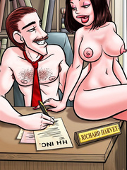 Sexcartoon. Naked secretary on the table! - Cartoon Porn Pictures - Picture 1