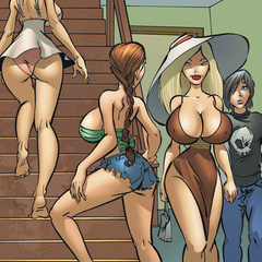 Comic sex pics. Three sexy girls are looking - Cartoon Porn Pictures - Picture 1