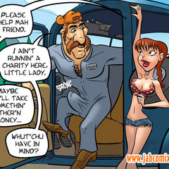 Sex cartoon. Redhead Devil makes blowjob car - Cartoon Porn Pictures - Picture 1
