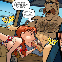 Sex cartoon. Redhead Devil makes blowjob car - Cartoon Porn Pictures - Picture 2