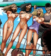 Slave girl. Cruel captain and his crew fuck three captured girls on the ship!