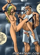 Sado comic. I'll give you the real cock, slave, your soaking pussy deserves!